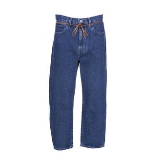 jeans cropped drawstring dark blue dark blue