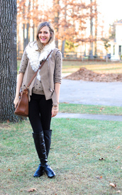 see jane,jacket,sweater,pants,shearling vest,suede,polka dots,bag,brown leather bag,leather bag,brown bag,crossbody bag,jeans,black jeans,boots,black boots,fall outfits