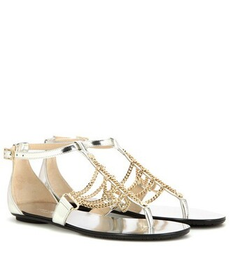 embellished sandals leather sandals leather metallic shoes
