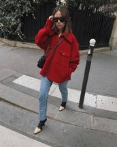 jacket,red jacket,boots,black and white,jeans,crossbody bag