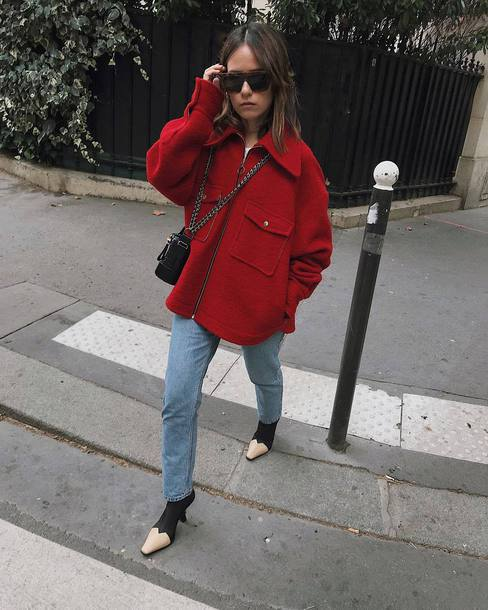 jacket red jacket boots black and white jeans crossbody bag