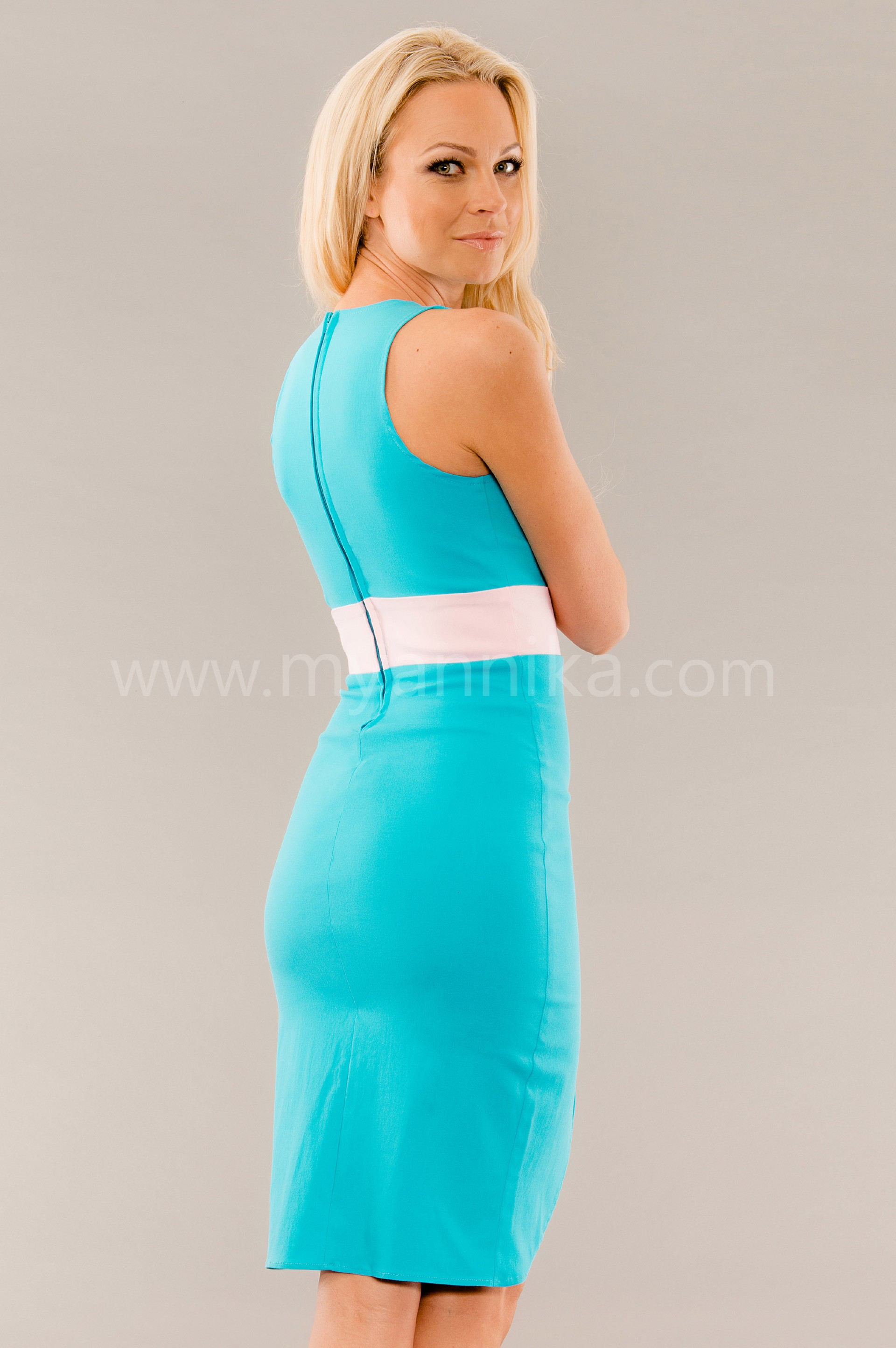 Turquoise Pencil Dress with Front Slit Annika - Bandage Dresses ...