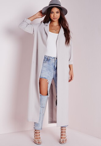 coat duster coat grey coat long coat ripped jeans boyfriend jeans missguided