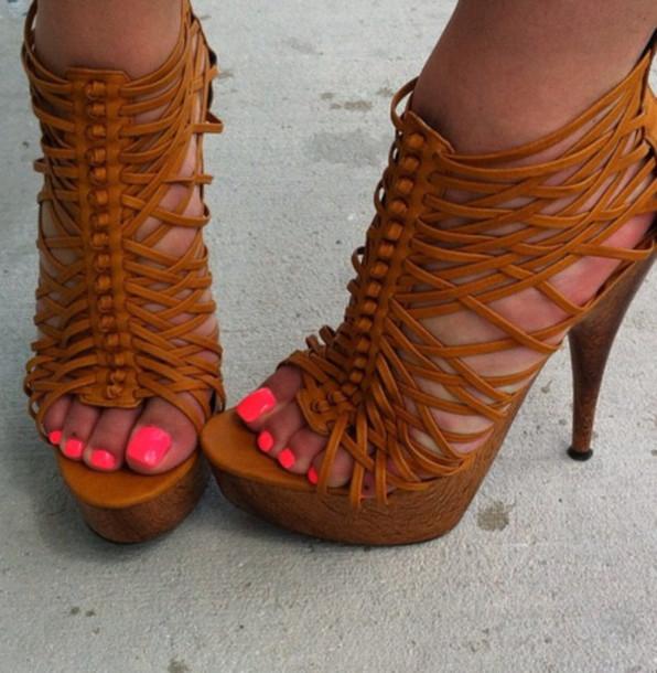 Shoes: Neon, Heels, Brown, Vintage, Tan, Boho, Summer