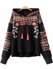 sweater,floral embroidered,black,hooded,tassel,brenda-shop,floral,pullover,embroidered,embroidered tops,winter outfits
