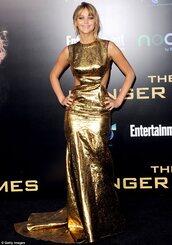 dress,gold,floor length,floor length dress,prom,prom dress,jennifer lawrence,bag