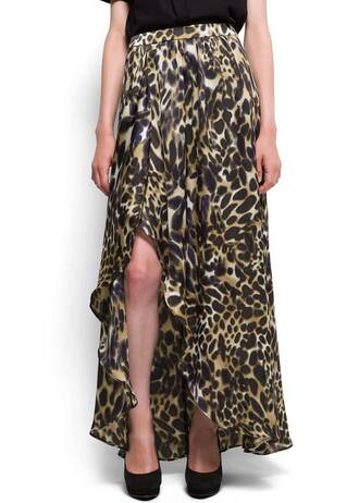 skirt leopard print satin mango slit maxi skirt