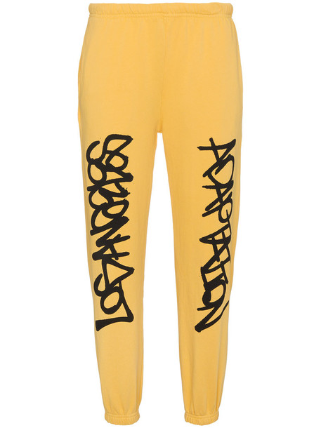 Adaptation pants track pants women cotton yellow orange