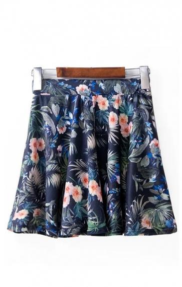 Floral Printing Elastic Waist Pleating Hem Skirt