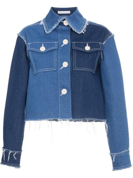 jacket denim jacket denim patchwork cropped women cotton blue