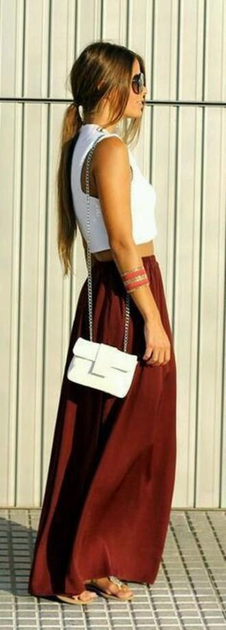 skirt long burgendy burgundy skirt burgundy high wasteted flowy free