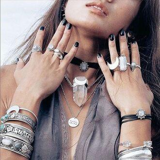 jewels shop dixi gypsy boho bohemian hippie grunge jewelry jewelery sterling silver crescent moon bracelets bangle cuffs ring