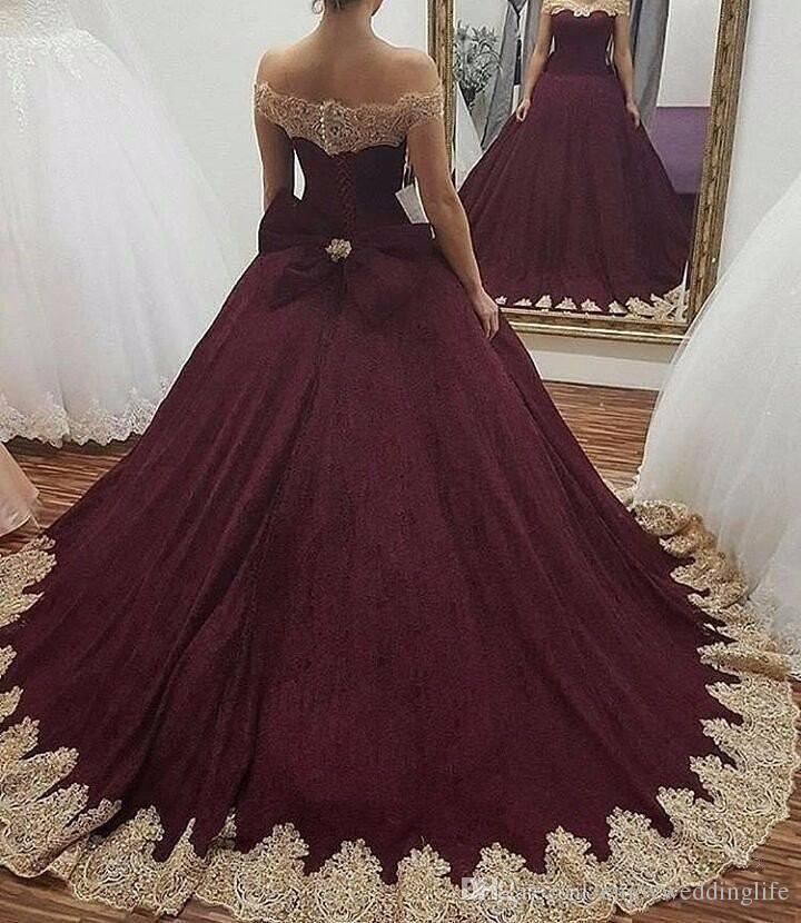 Burgundy Off The Shoulder Ball Gown Quinceanera Dresses 2017 Gold ...
