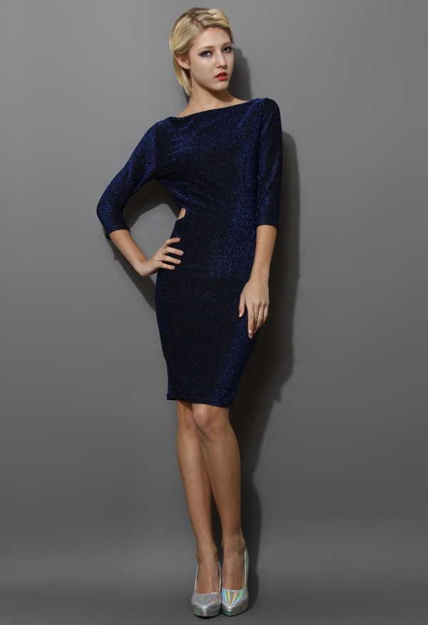 dress metallic detail cut-out blue