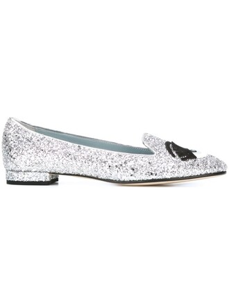 glitter women slippers leather grey metallic shoes