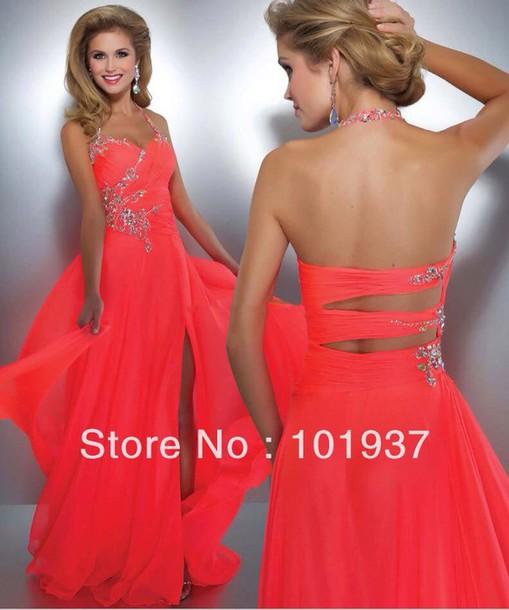 dress coral dress prom dress