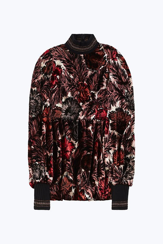 Printed Knit Detail Dress