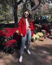 jacket,tumblr,red jacket,fur jacket,denim,jeans,blue jeans,sneakers,white sneakers,top,sunglasses,white sunglasses