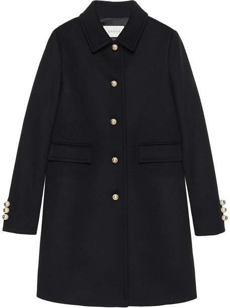 gucci coat women black silk wool