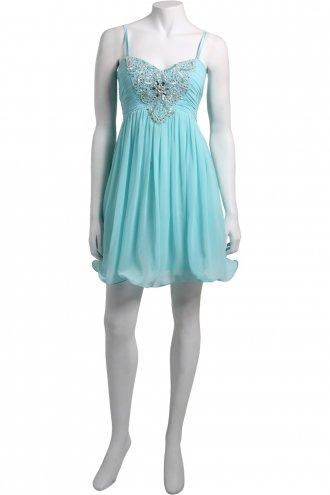 Little mistress turquoise embellished prom dress