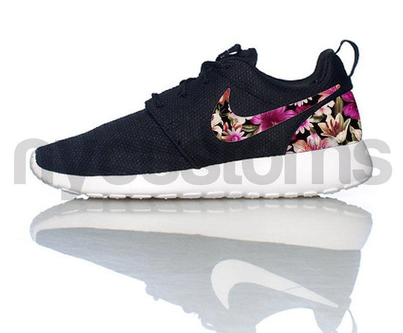 Nike Roshe Run Black White Floral Bouquet Print Custom Womens