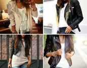 jacket,white hackers,white jacket,studded,white t-shirt,jeans,classy,black jacket,t-shirt,top,crop tops,white crop tops,denim jacket,denim,skinny,bodycon,necklace,jewels,style,beige,beautiful,sexy,fashion,clothes,summer outfits,light pink,pale pink jacket,zip,zip up,blouse