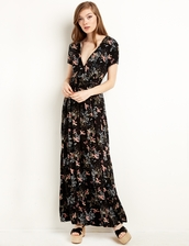 dress,black bird print wrap maxi dress,maxi dress,floral dress,spring dress,summer dress,summer outfits,spring outfits,cute dress,girly dress,pixiemarket