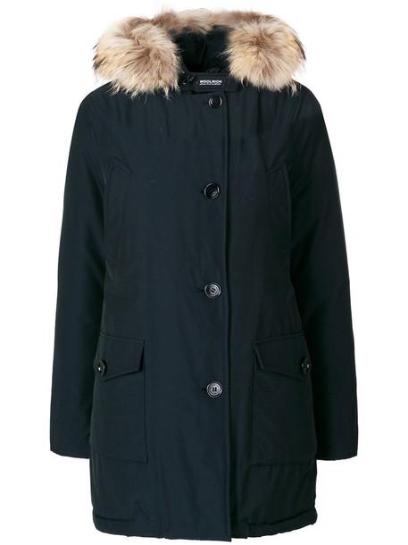 Woolrich parka feathers fur women cotton blue coat