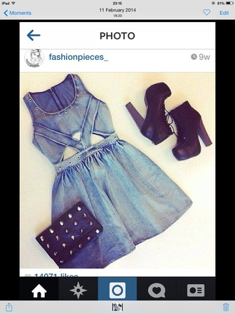 dress denim dress summer dress shoes outfit inspiration
