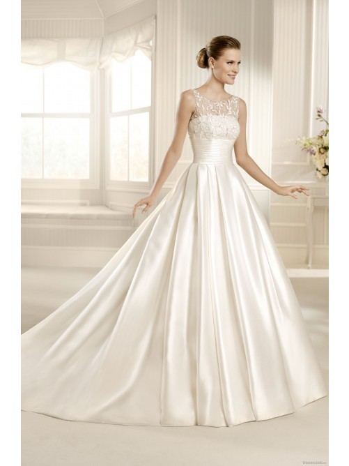 Buy 2013 Elegant A Line Scoop Chapel Train Satin Wedding Dress Online Cheap Prices