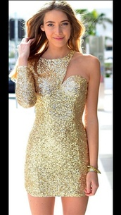 sequins,bodycon,one shoulder,christmas,sequin dress,glitter dress,christmas dress,dress,gold sequins,gold,homecoming dress,short dress