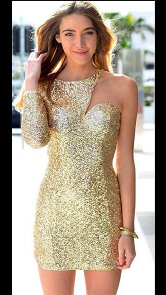 bodycon dress glitter dress sequin dress sequins golden one shoulder christmas glitters