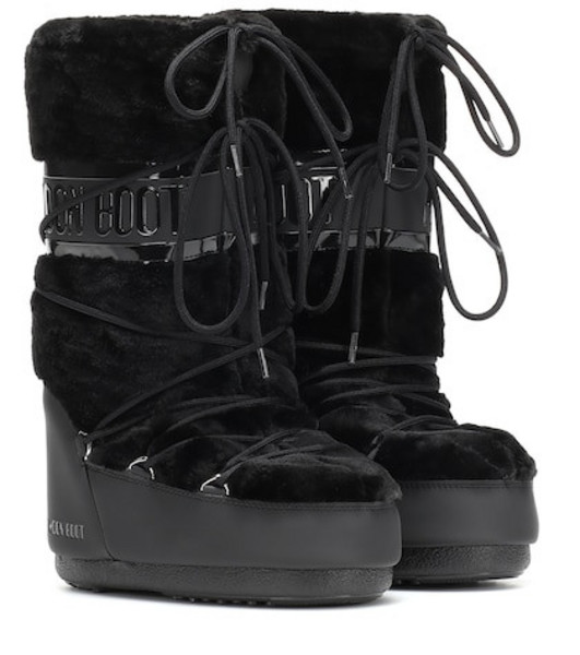 Moon Boot Exclusive to Mytheresa – Classic faux fur-trimmed ankle boots in black