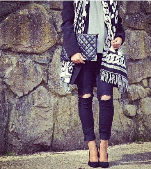 chains black white scarf women scarfs