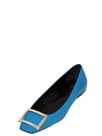 flats leather turquoise shoes