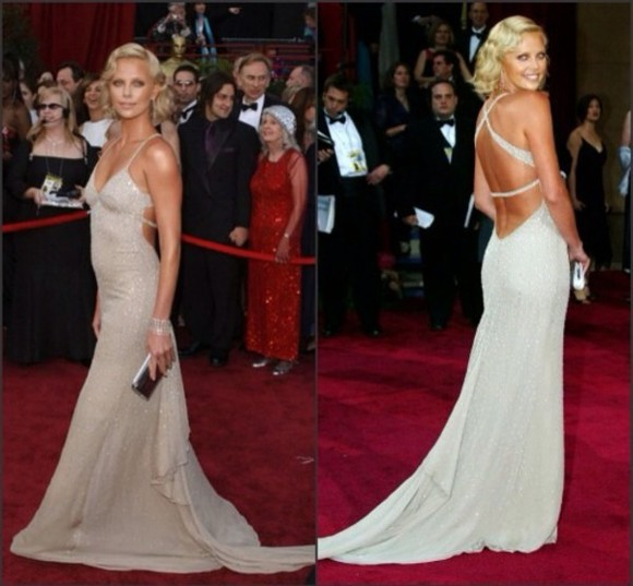 dress red carpet charlize theron