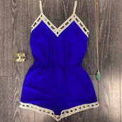 romper,jumpsuit,blue romper,blue,summer outfits,summer,cute,triangle,royal blue,cobalt,girly,casual,beautiful,fashion,cream,festival,preppy,cobalt blue romper with lattice pattern hem,style,cute romper,blu,shorts,bleu,dentelle ajourée,dress,royal blue romper,short blue romper,white trim,jewels,cobalt blue,pendant,gold bracelet,cuff bracelet,jewelry,bracelets,gold,blue dress,summer dress,fancy,embroidered,white girl,shoes,navy,top,blue shirt,blue skirt,ootd,summer top,warm,spring,spring outfits,outfit,shirt,tight,navy blue romper,white,white lining,blue and white,t-shirt,cobalt blue romper,summerclothing,clothes,design,mini shorts,high waisted,high waist mini skirt,combalt blue,short,short overalls,sleeveless