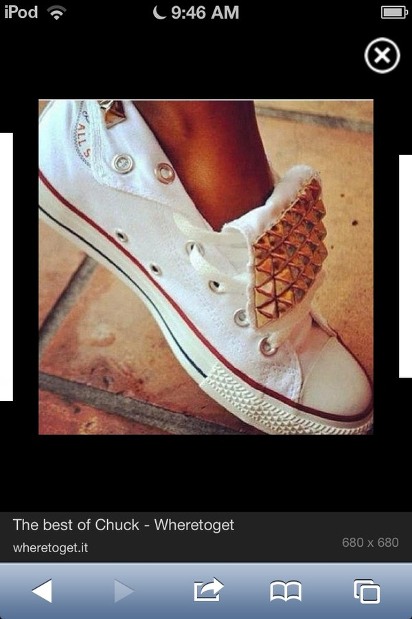 shoes converse white low tops with studs bag