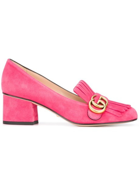 gucci women loafers leather suede purple pink shoes