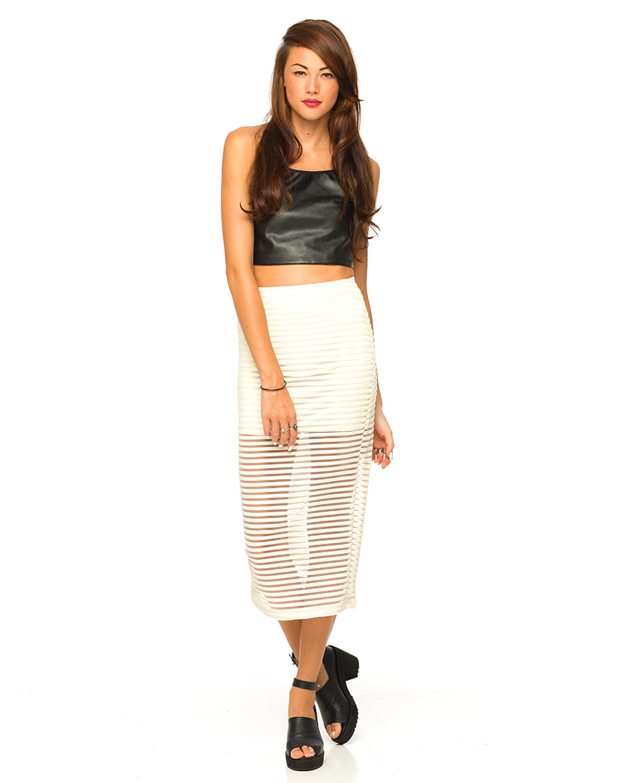 Buy Motel Bobby Midi Skirt in Ivory Stripe Net at Motel Rocks