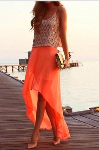 skirt orange half skirt flowy elegant wedding dress bag shoes tank top