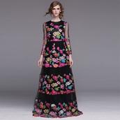 dress,floral dress,floral,long dress,aliexpress,Valentino,long sleeves,black dress,colorful