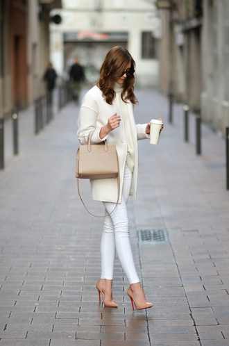 vogue haus blogger coat sweater jeans shoes bag sunglasses jewels white jeans nude bag handbag nude heels high heel pumps
