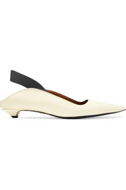 Proenza Schouler - Leather Slingback Pumps - Off-white