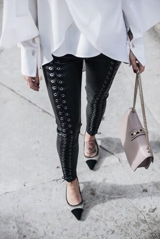 pants leather pants lace up tumblr black pants pumps bag nude bag