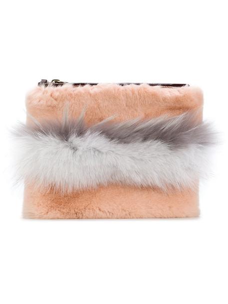 Mr & Mrs Italy fur zip fox women clutch cotton purple pink bag
