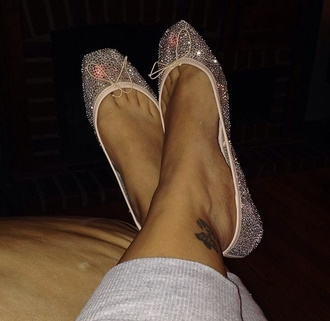 shoes ballet flats nude cyrstal bling flats mesh
