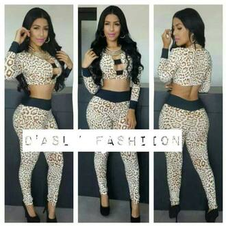 dress two-piece outfit leopard print sexy