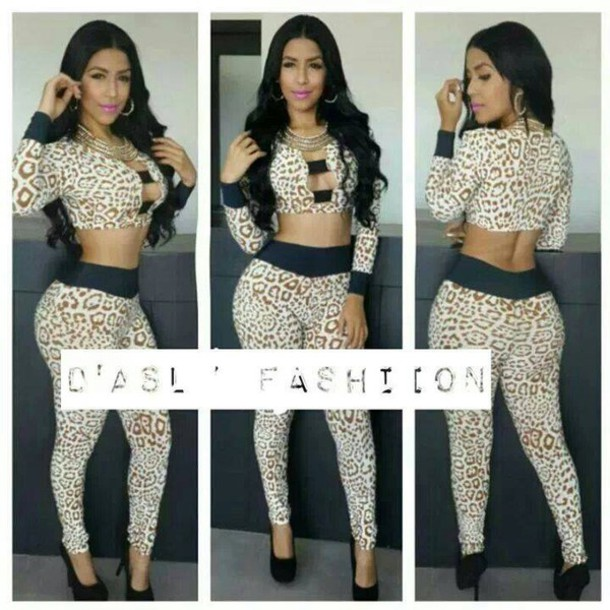 f8b7318d898f dress, two-piece, outfit, leopard print, sexy, two-piece - Wheretoget