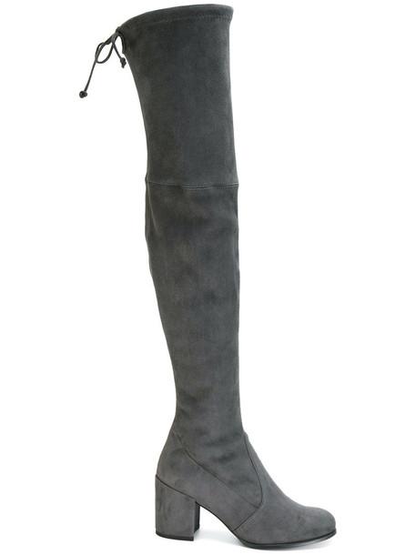 STUART WEITZMAN heel women suede grey shoes